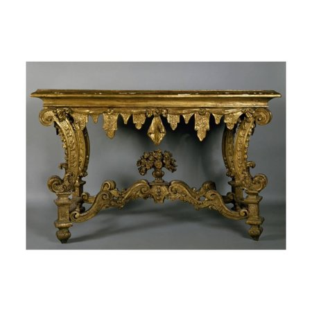 Carving Gem Art (Baroque Style Carved and Gilt Console Table with Imitation Marble Spruce Top, Italy Print Wall)