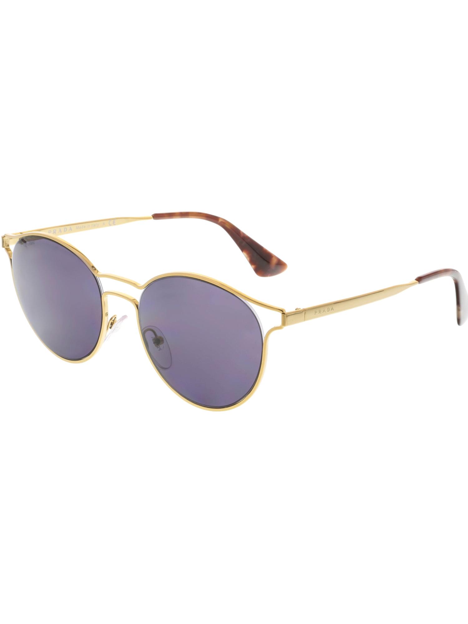 de244145caca ... coupon prada womens cinema pr62ss 7oe6o2 53 gold round sunglasses 073b7  13375