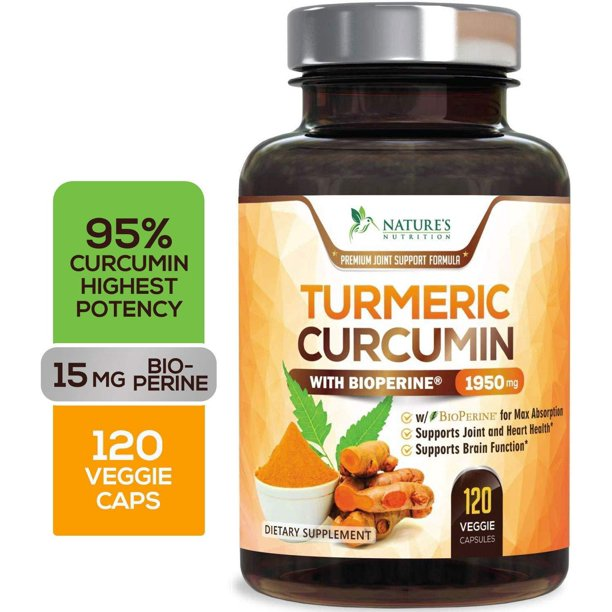 Turmeric Curcumin with BioPerine 95% Curcuminoids 1950mg with Black Pepper for Best Absorption, Made in USA, Best Vegan Joint Support, Turmeric Supplement Pills by Natures Nutrition - 120
