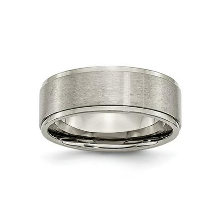 - Mens 8mm Brushed Titanium and Polished Ridged Edge Wedding Band Ring Size 14