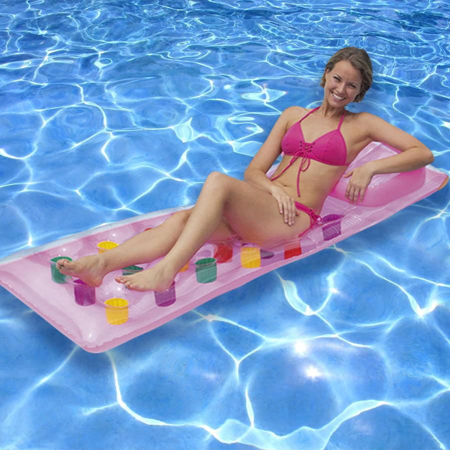 Intex 18-Pocket Suntanner Lounge Floating Pool Lounger w// Headrest Set of 6