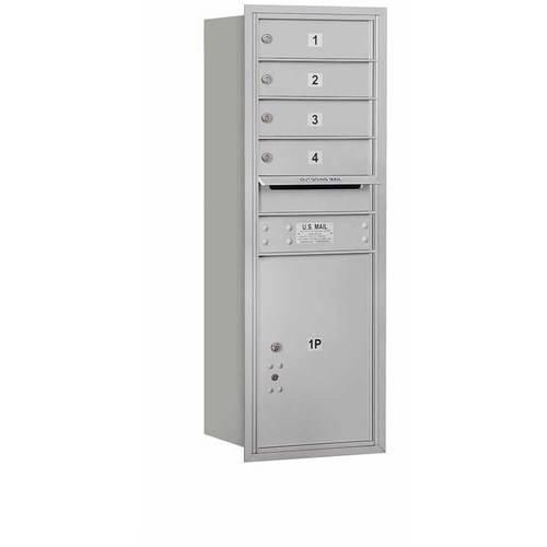 "Salsbury Industries 4C Horizontal Mailbox 11-Door High Unit (41""), Single Column, 4 MB1 Doors, 1 PL5, Aluminum, Rear Load, Private Access"