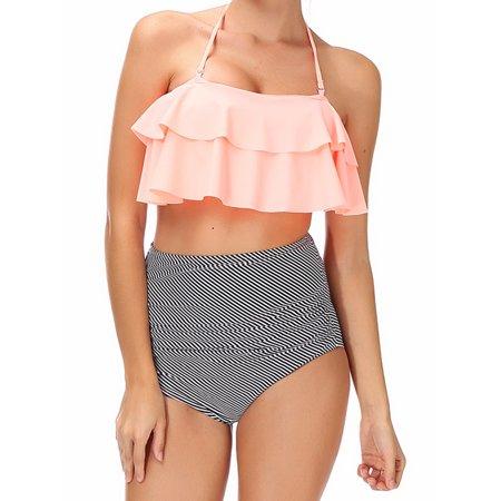 7458b12f21 LELINTA - LELINTA Juniors  Bandage Hight Waist Halter Bikini Set ...