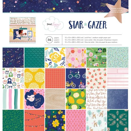 12 x 12 Inch 36 Sheet Paper Pad with Copper Foil Dear Lizzy Star Gazer, 12 x 12 inch paper pad By American Crafts