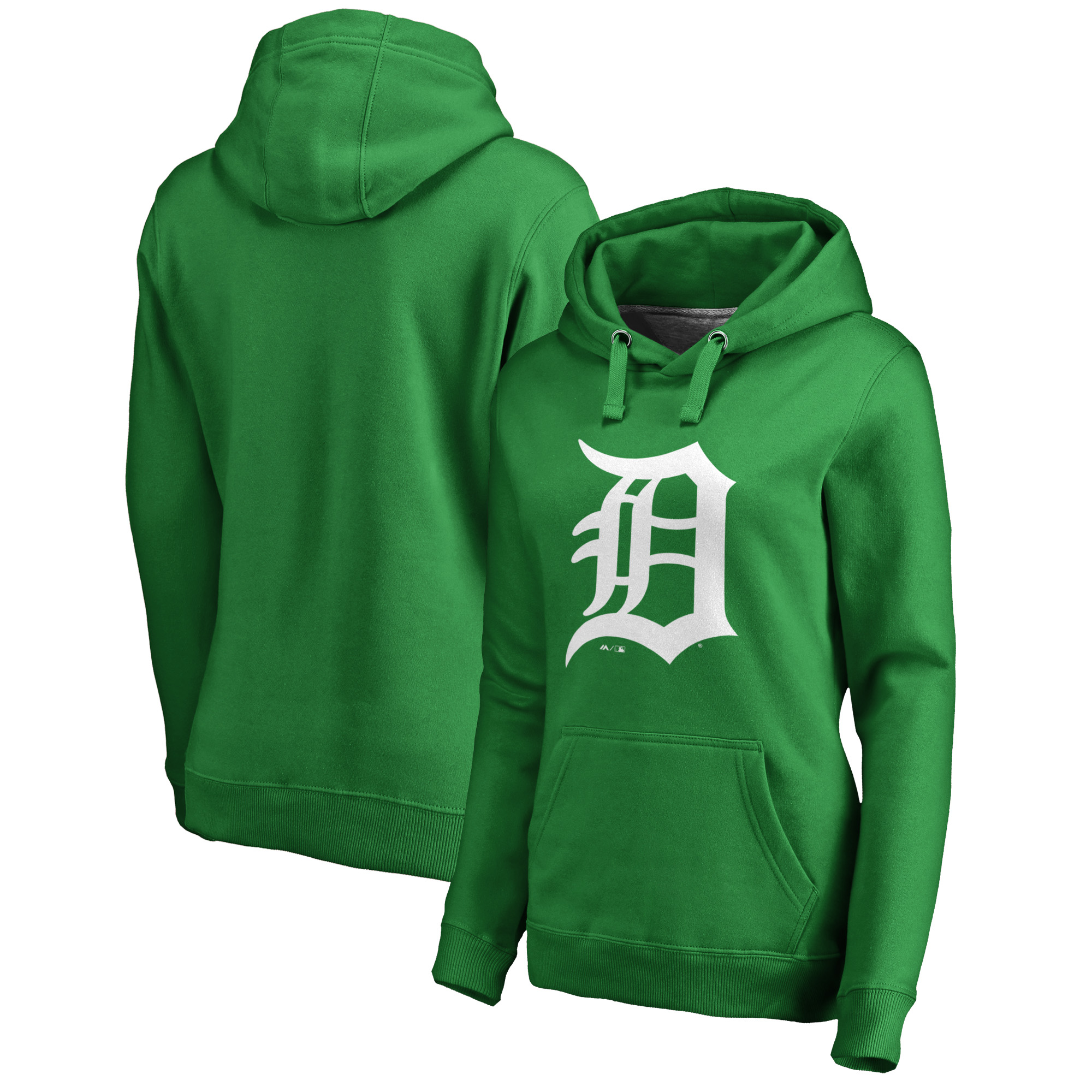 Detroit Tigers Majestic Women's St. Patrick's Day White Logo Pullover Hoodie - Kelly Green