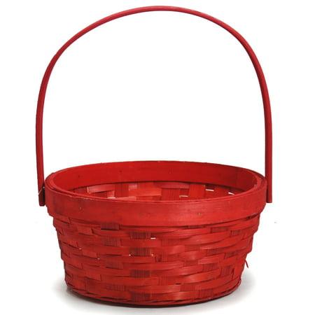 (Red Weave Round Handle Basket - Medium 7in)