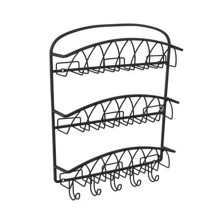 Spectrum Diversified Twist Wall Mount 3-Tier Letter Holder & Key Rack, Black, 92210 (Rack For Hanging Folders)