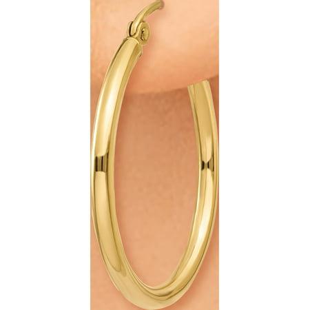 10k or jaune poli 2mm Hoop (2x22mm) Boucles d'oreilles - image 2 de 4