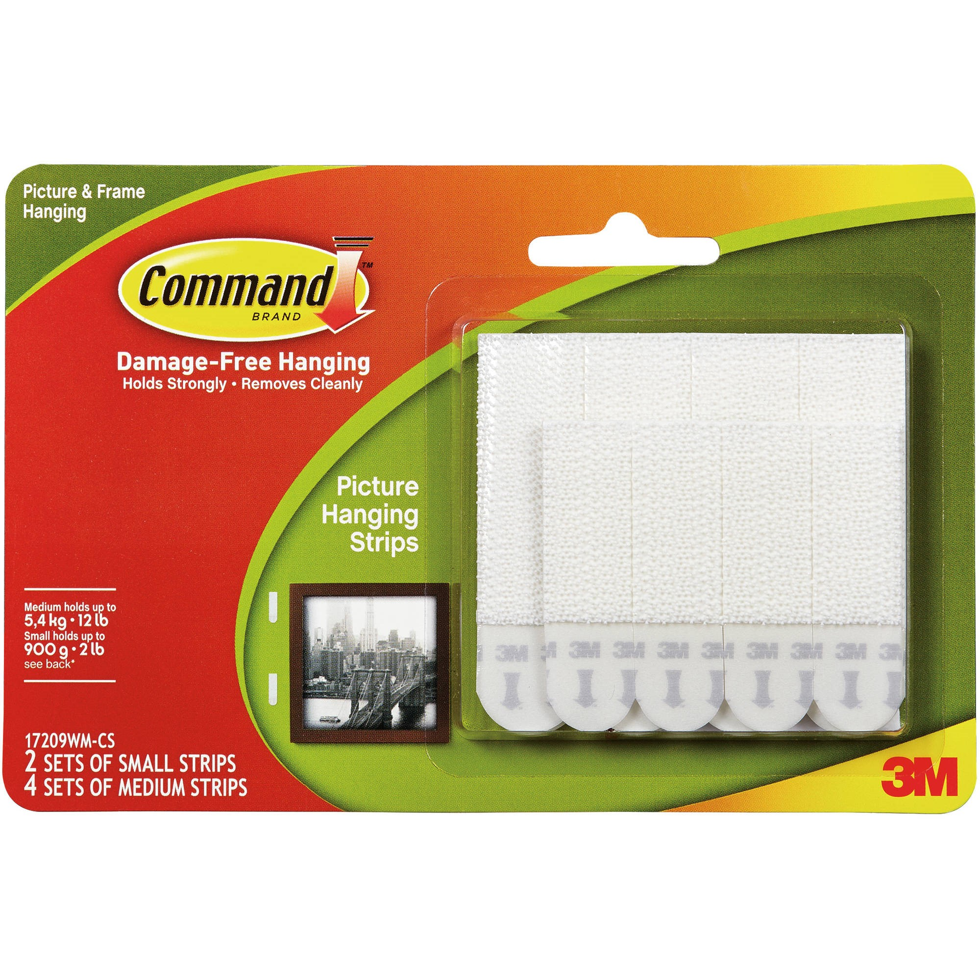 Command Picture Hanging Strips Value Pack, 2 Sets of Small Strips, 4 Sets of Medium Strips