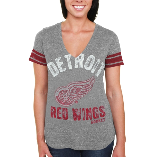 Detroit Red Wings Women's Team Captain Tri-Blend V-Neck T-Shirt - Ash