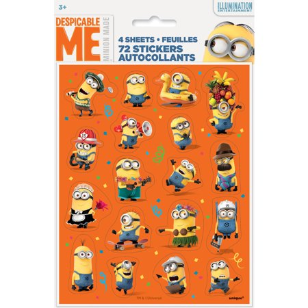 - Despicable Me Minions Sticker Sheets, 4ct
