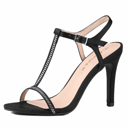 Unique Bargains Women's Rhinestone Decor T-Strap Stiletto Sandals Black (Size