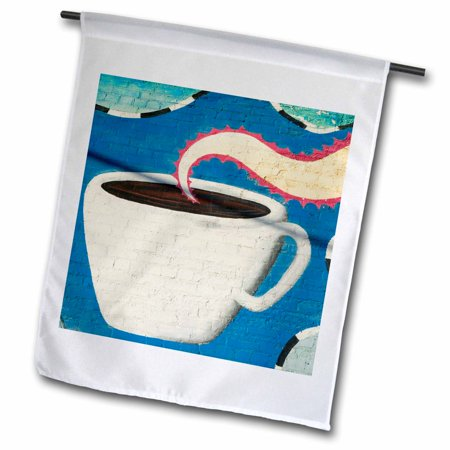 Garden District Metal (3dRose TEXAS, Deep Ellum District, Coffee Cup Mural - US44 WBI0032 - Walter Bibikow - Garden Flag, 12 by 18-inch )