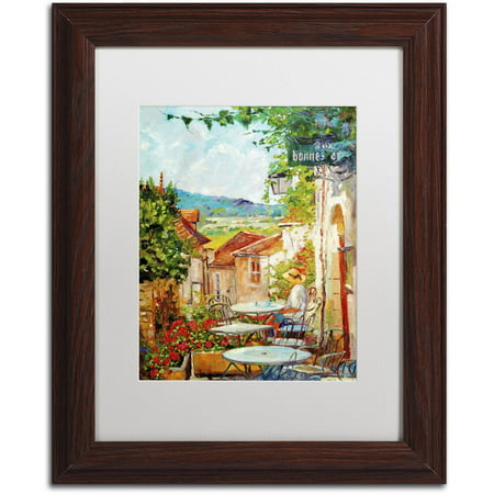 "Trademark Fine Art ""Provence Cafe Morning"" Canvas Art by David Lloyd Glover, White Matte, Wood Frame"