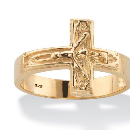 Men's Horizontal Crucifix Cross Men's Ring in 14k Yellow Gold over Sterling Silver (Cross Cross Gold Ring)