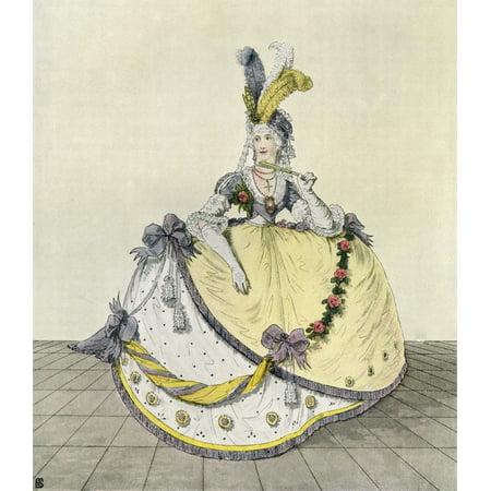 Lady in a ball gown at the English court 1800 From Illustrierte Sittengeschichte vom Mittelalter bis zur Gegenwart by Eduard Fuchs published 1909 Canvas Art - Ken Welsh  Design Pics (26 x 30)