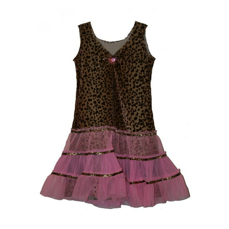 LEOPARD DIVA DRESS tutu kitty cat girls kids halloween costume XS