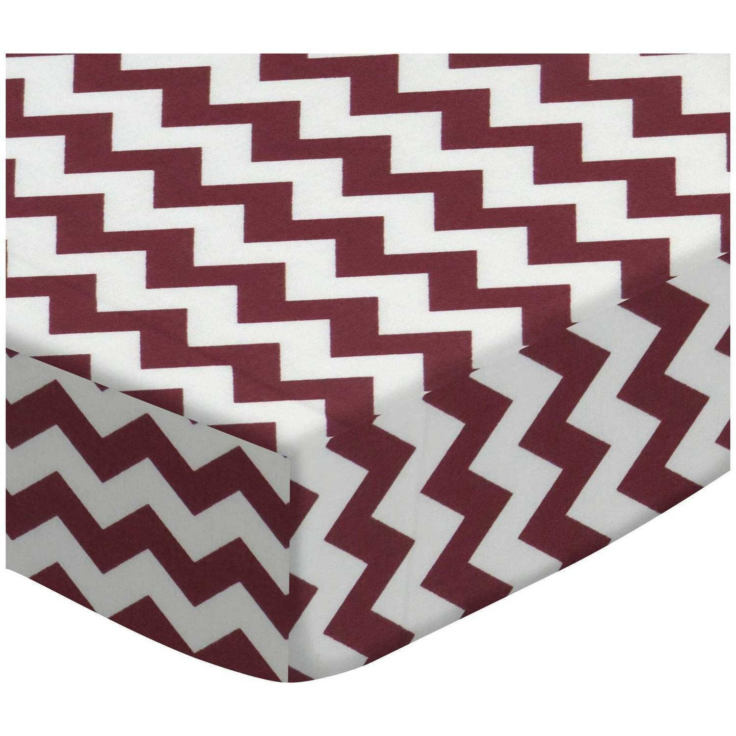 SheetWorld Fitted Pack N Play (Graco) Sheet - Burgundy Chevron Zigzag