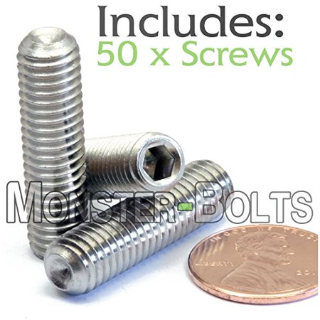 - (50) M8-1.25 x 30mm - Stainless Steel Socket Set Screws w Cup Point A2-70/18-8 DIN 916 - MonsterBolts (50, M8 x 30mm)
