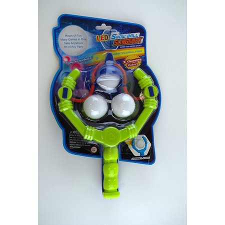 LED Snowball Slingshot - 3 Blue/Red LED Snowballs with (Snow Ball Lights)