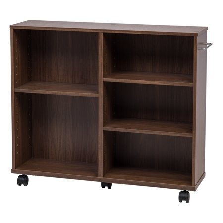 IRIS Wide Wooden Rolling Shelf, Dark Brown
