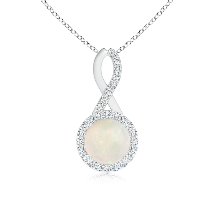 October Birthstone Pendant Necklaces Infinity Round Opal and Diamond Halo Pendant in 950 Platinum (7mm Opal)... by Angara.com