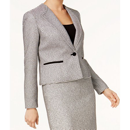 Nine West Womens Striped Tweed One Button Blazer