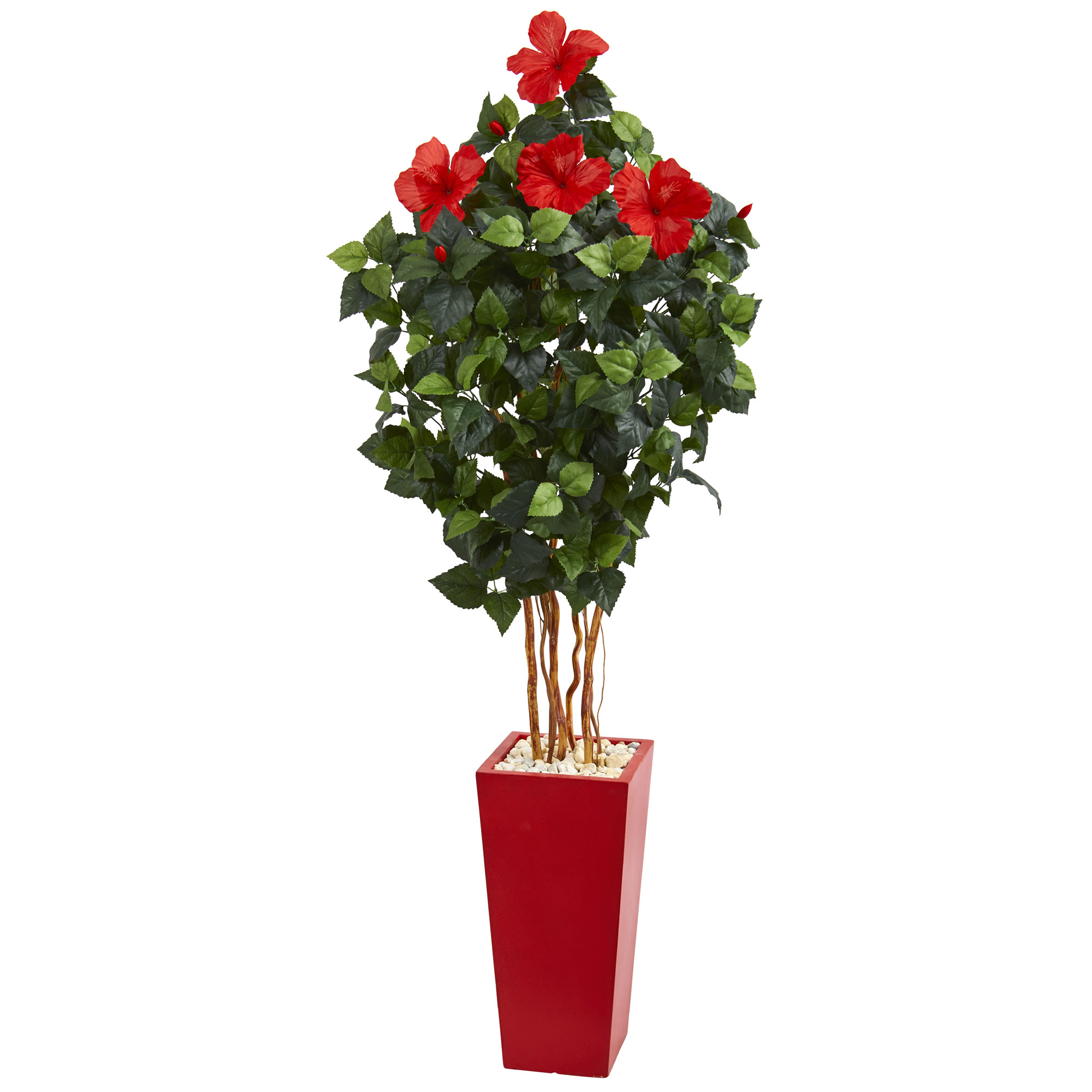 Nearly Natural 5.5 ft. Hibiscus Artificial Tree in Red Tower Planter