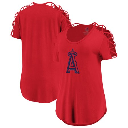 Los Angeles Angels Majestic Women's Best Comeback Lattice T-Shirt -