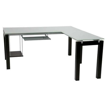 Eurostyle Ballard Glass L Desk W  Keyboard Tray