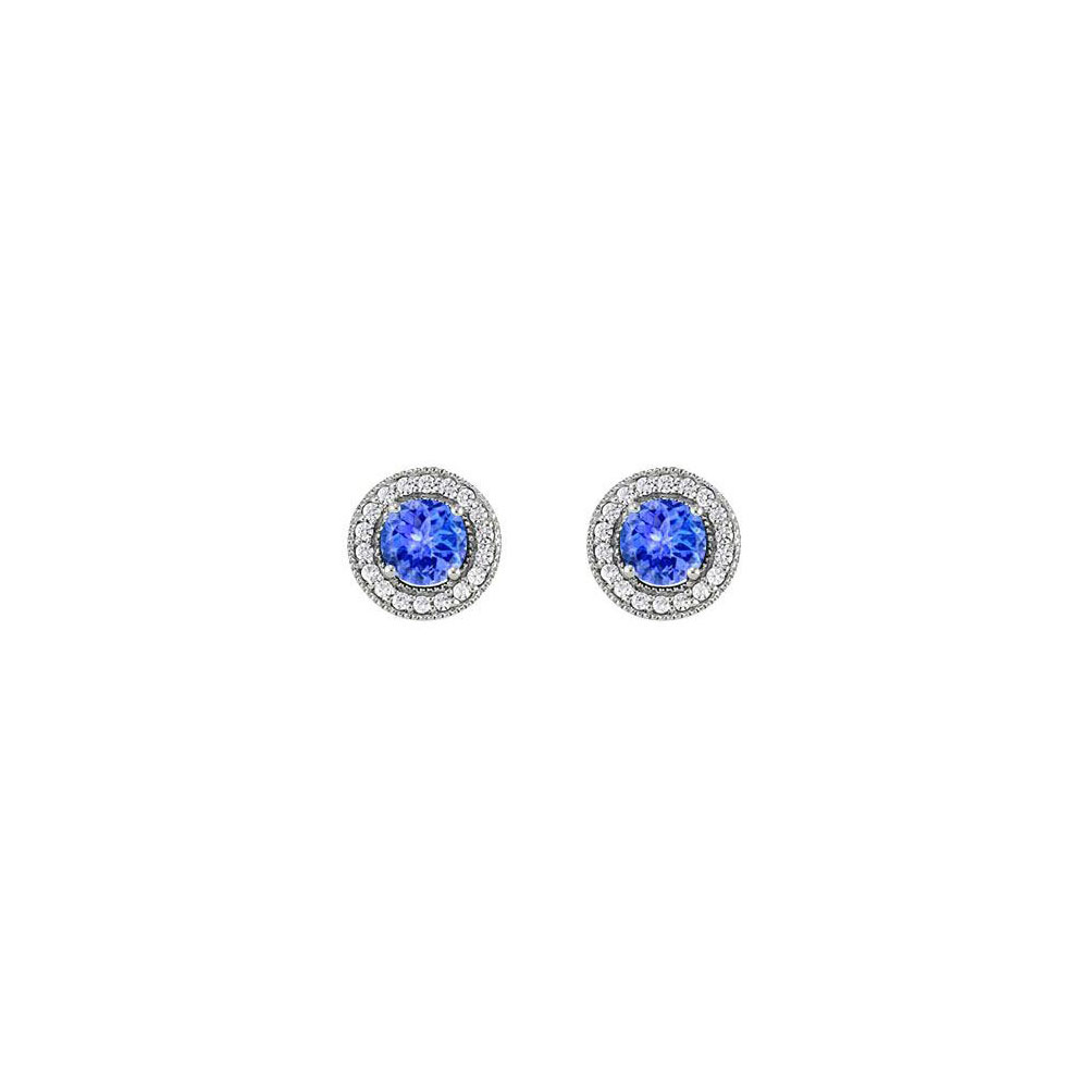December Birthstone Created Tanzanite and CZ Halo Stud Earrings in Sterling Silver 2.50 CT TGW - image 2 de 2