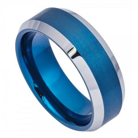 8mm Tungsten Blue IP Brushed Center High Polish Beveled Edge Wedding Band Ring For Men Or Ladies