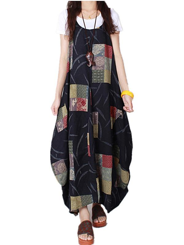 Women's Vintage Pattern Print Sleeveless O-Neck Comfy Long Dresses