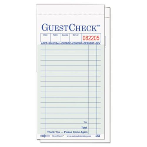 National Checking G6000 Guest Check Pad, 3 1/2 X 6 3/4, G...