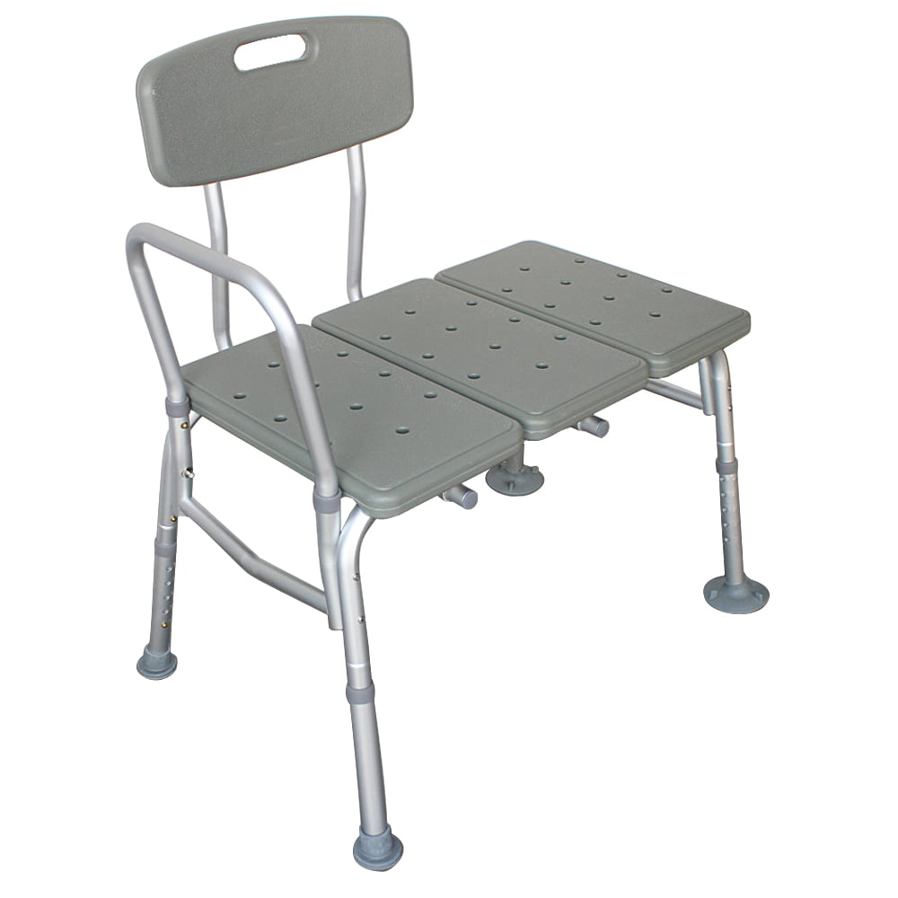 Tub Transfer Bench Reversible Sliding Shower Chair With Armrests And Backrest Aluminum Body