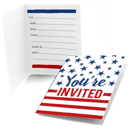Stars & Stripes - Fill In Memorial Day Patriotic Party Invitations (8 count)