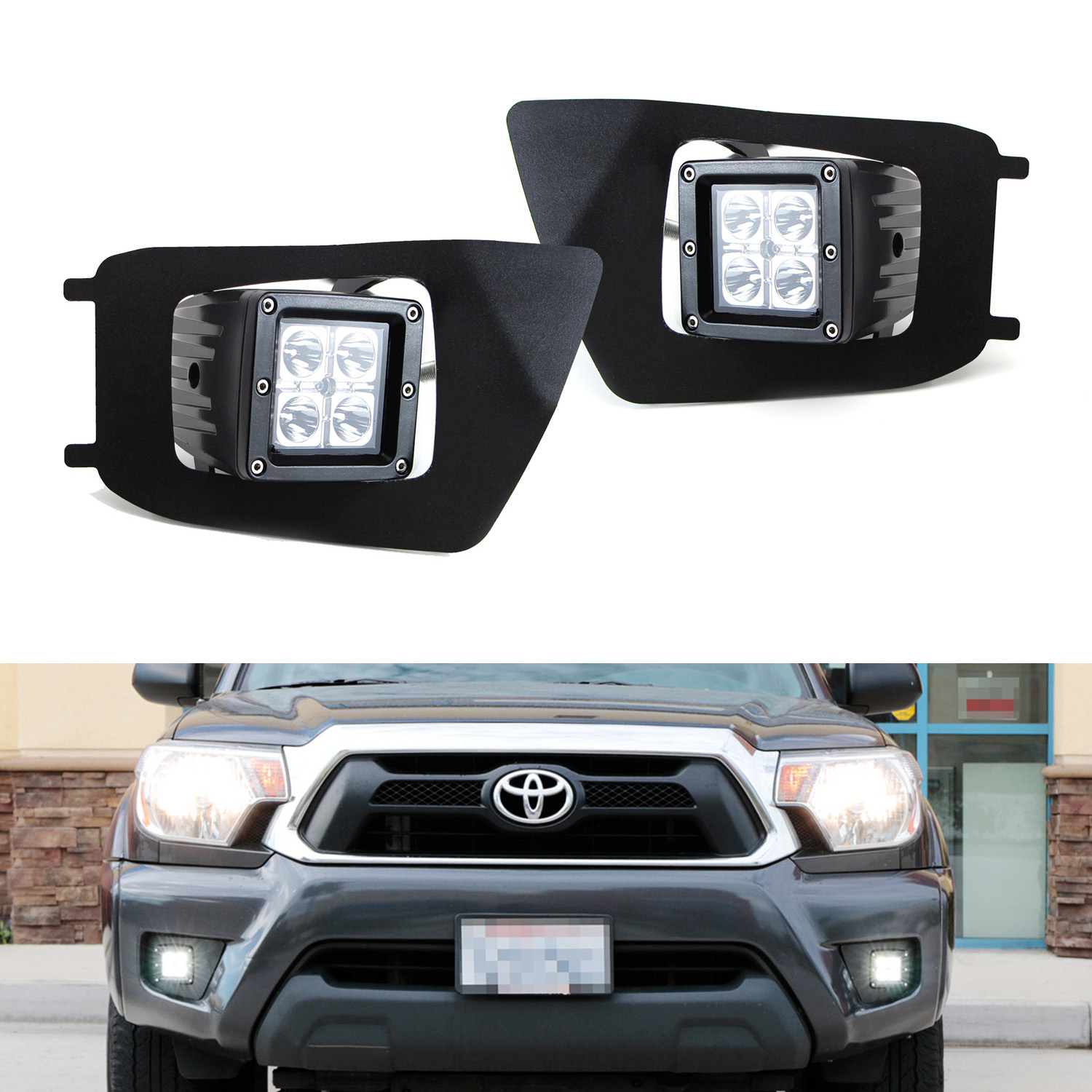 iJDMTOY 40W CREE Cubic LED Pod Light w/ OEM Fog Light Loc...