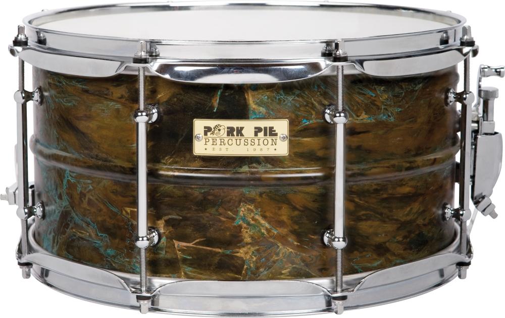 Pork Pie Brass Patina Snare Drum 7 x 13 by Pork Pie