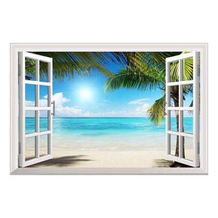 Wall26 White Sand Beach with Palm Tree Open Window Wall Mural, Removable Sticker, Home Decor - 36x48 -