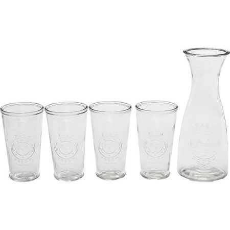 Circle Glass Ranch 5 Piece Beverage Serving (Peace Circle)