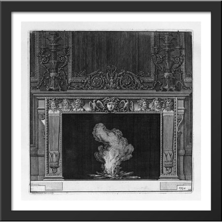 Medusa Head Piece (Fireplace: busts in the frieze of satyrs and the head of Medusa in the center between two eagles 28x28 Large Black Wood Framed Print Art by Giovanni Battista)