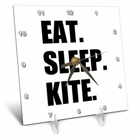 3dRose Eat Sleep Kite - Kitesurfing kiteboarding kitesurfer kiteboarder surf, Desk Clock, 6 by 6-inch