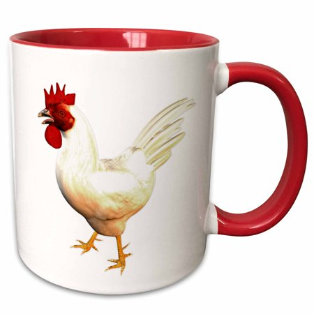 3dRose Leghorn Rooster - Two Tone Red Mug, - Leghorn Rooster