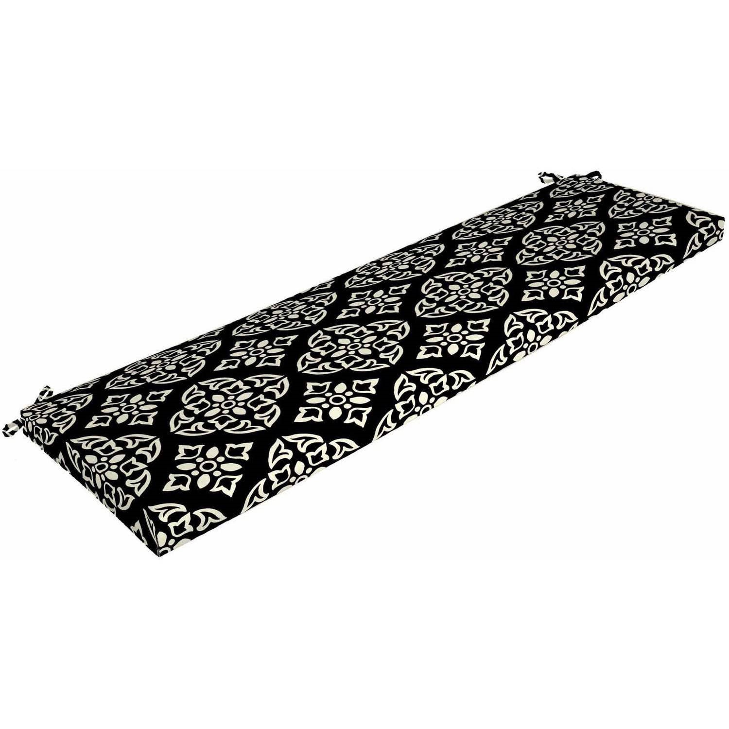 """Better Homes & Gardens Black and White Medallion Outdoor Patio Bench Cushion, 46""""W x 17""""D x 3""""H"""