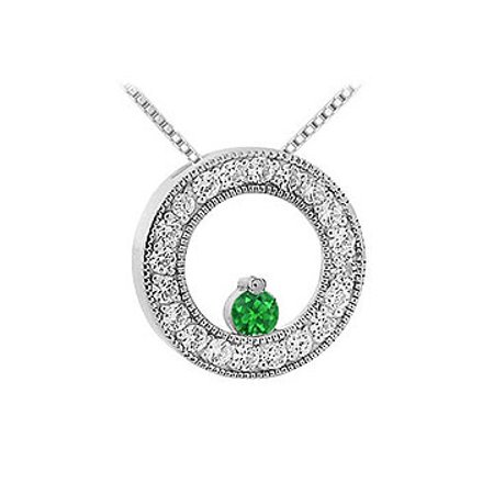 Emerald and Diamond Circle Pendant 14K White Gold 1.00 CT TGW - image 1 de 2