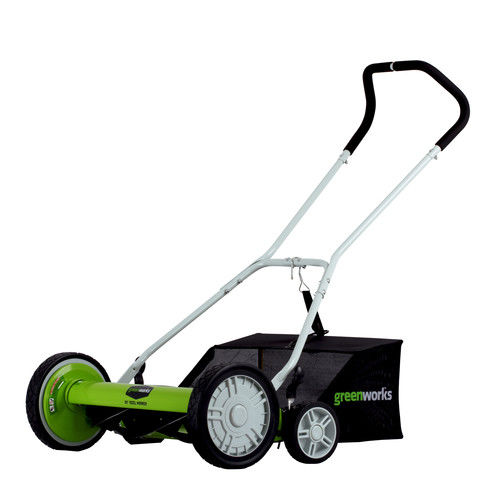 Greenworks 20-Inch 5-Blade Push Reel Lawn Mower with Grass Catcher 25072