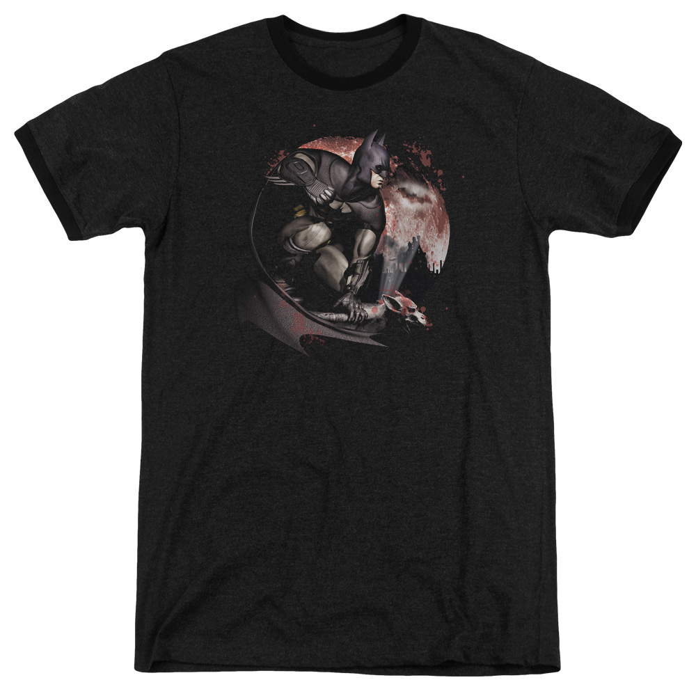 Arkham City Blood Moon Mens Adult Heather Ringer Shirt