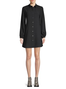Scoop Button-Down Swing Shirt Dress Women's