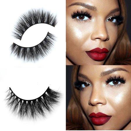 d45a32a99c3 3D Mink Makeup Cross False Eyelashes Eye Lashes Extension Handmade -  Walmart.com