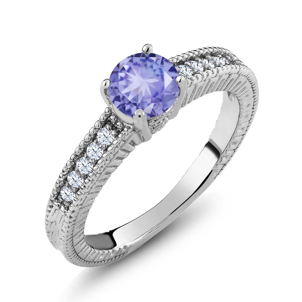 1.10 Ct Round Blue Tanzanite White Topaz 925 Sterling Silver Engagement Ring by